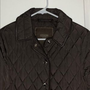 Chocolate Brown COACH Quilted Jacket